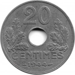FRANCE 20 CENTIMES TYPE 20 1944 SUP