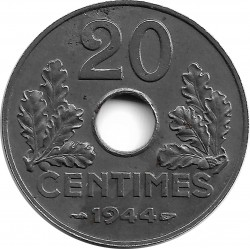 FRANCE 20 CENTIMES TYPE FER 1944  SUP PEU