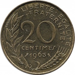 FRANCE 20 CENTIMES LAGRIFFOUL 1963 SUP
