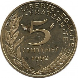 FRANCE 5 CENTIMES LAGRIFFOUL 1992 BE