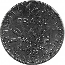 FRANCE 1/2 FRANC ROTY 1977 SUP-