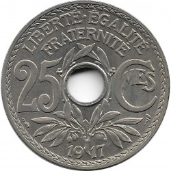 FRANCE 25 CENTIMES LINDAUER 1917 SUP+