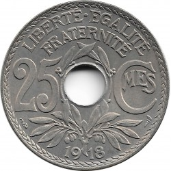FRANCE 25 CENTIMES LINDAUER 1918 SUP/NC