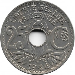 FRANCE 25 CENTIMES LINDAUER 1924 SUP