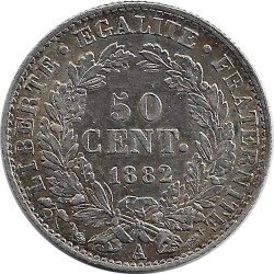 FRANCE 50 CENTIMES CERES 1882 A SUP-