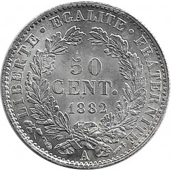 FRANCE 50 CENTIMES CERES 1882 A SUP+