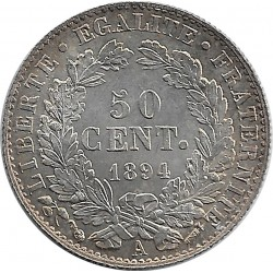 FRANCE 50 CENTIMES CERES 1894 A SUP+