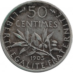 FRANCE 50 CENTIMES ROTY 1905 TTB