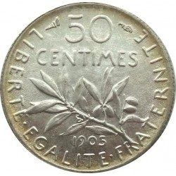 FRANCE 50 CENTIMES ROTY 1905 SUP/NC