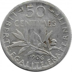 FRANCE 50 CENTIMES ROTY 1906 TB