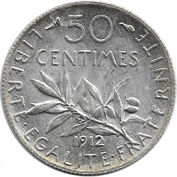 FRANCE 50 CENTIMES ROTY 1912 SUP