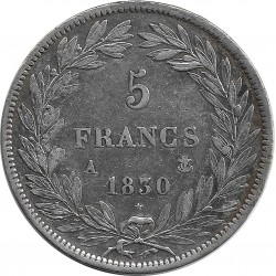 FRANCE 5 FRANCS LOUIS-PHILIPPE I 1830 A TRANCHE EN RELIEF TTB