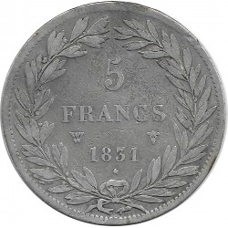 FRANCE 5 FRANCS LOUIS-PHILIPPE I 1831 W (Lille) TRANCHE EN RELIEF TB+