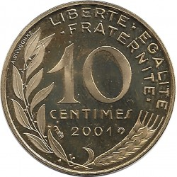 FRANCE 10 CENTIMES LAGRIFFOUL 2001 BE