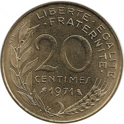 FRANCE 20 CENTIMES LAGRIFFOUL 1971 SUP