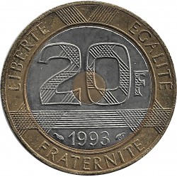 FRANCE 20 FRANCS MONT ST MICHEL 1993 TTB+