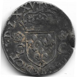 HENRI III (1574-1589) DEMI TESTON 1er TYPE MONNAYAGE DE LA LIGUE 1575 E (TOURS) TB-