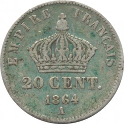 FRANCE 20 CENTIMES NAPOLEON III 1864 A TB+