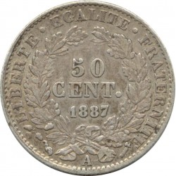 FRANCE 50 CENTIMES CERES 1887 A (Paris) TB+