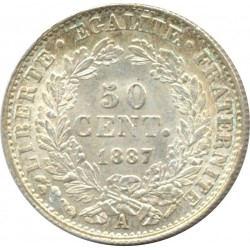 FRANCE 50 CENTIMES CERES 1887 A (Paris) SUP