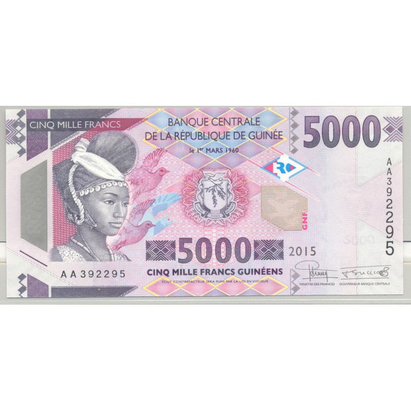 GUINEE (BANQUE CENTRALE) 5000 FRANCS 2015 SERIE AA 295 NEUF