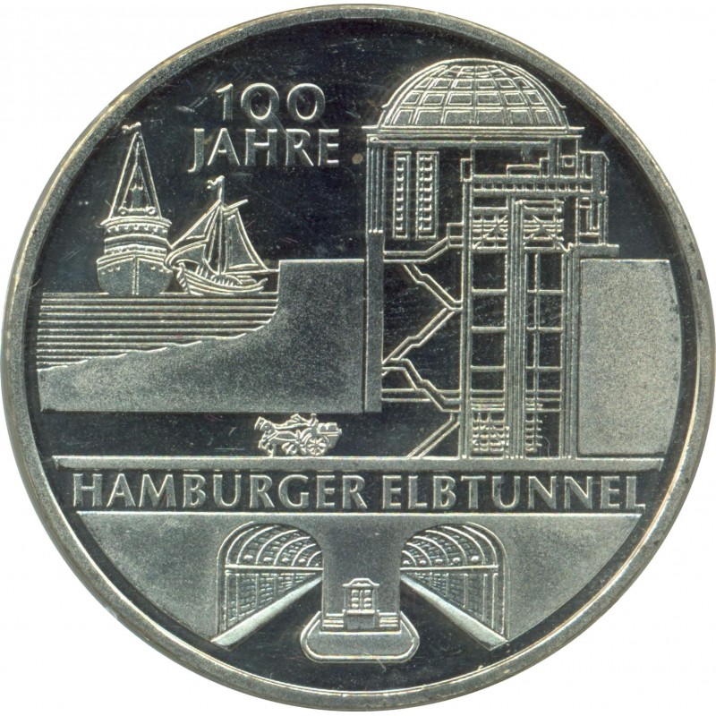 Allemagne 2011 J 10 EURO 100 ANS TUNNEL SOUS L'ELBE A HAMBOURG BE