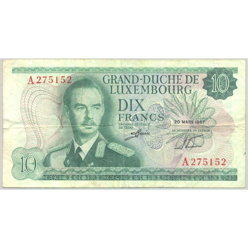 LUXEMBOURG 10 FRANCS 20-03-1967 SERIE A TB+