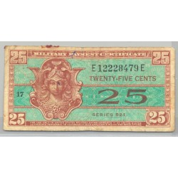 U.S.A. 25 CENTS 1954 MILITARY PAYMENT CERTIFICATE SERIE 521 TB+