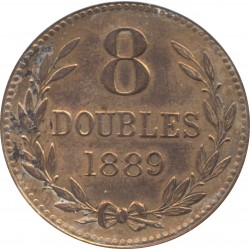 GUERNESEY 8 DOUBLES 1889 H TTB+