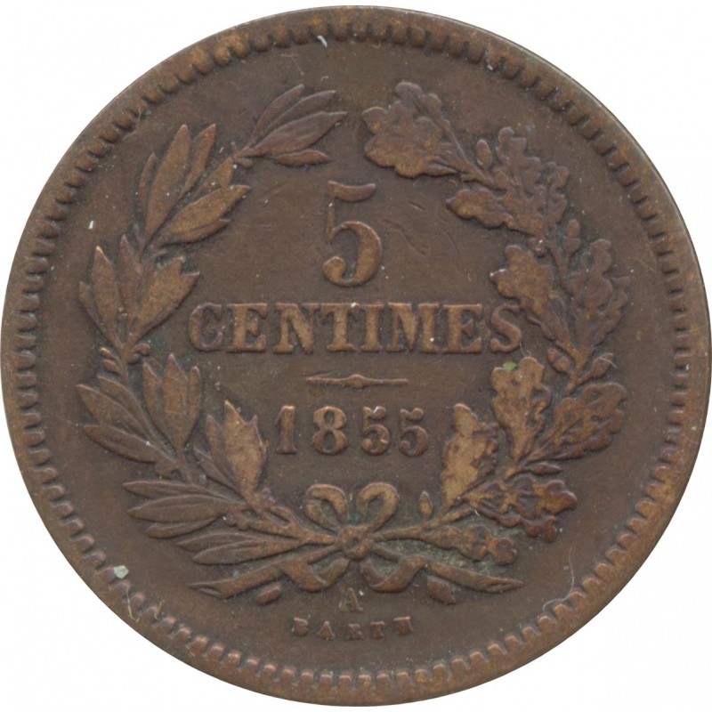 LUXEMBOURG 5 CENTIMES 1855 A TTB