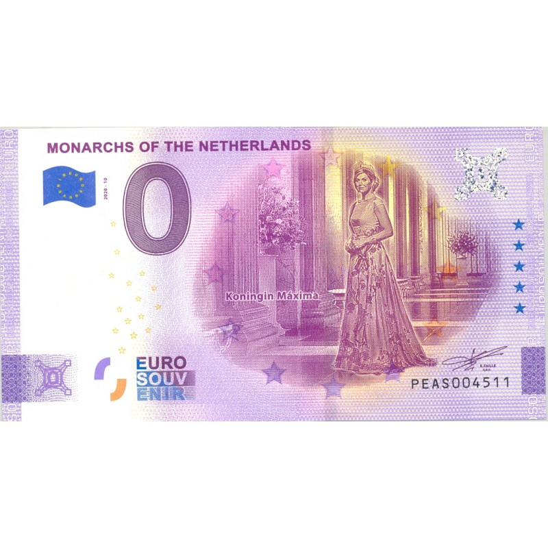 PAYS BAS 2020-10 MONARCHS OF THE NETHERLANDS VERSION ANNIVERSAIRE BILLET SOUVENIR 0 EURO TOURISTIQUE NEUF
